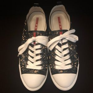 PRADA Lazer Cut Leather Black/Nude Sneakers